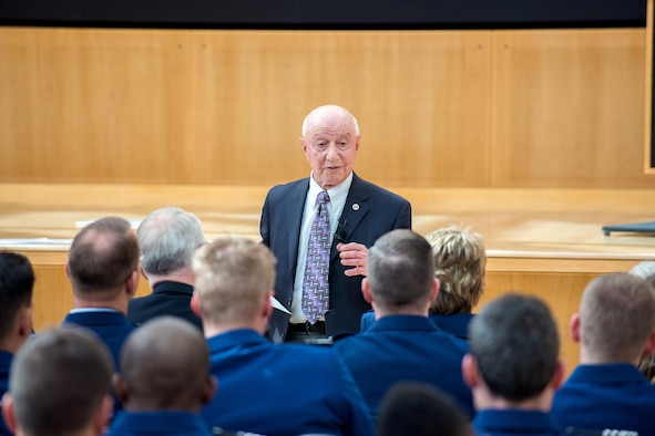 Retired Brig. Gen. Malhan  Wakin, the U.S. Air Force Academy's professor emeritus of philosophy, gave an inaugural address celebrating the grand opening of Polaris Hall and the mission of the CCLD, and doubling as his retirement speech, April 25, 2016. Wakin began teaching at the Academy in 1959. He served as head of the philosophy department, humanities division chair and associate dean. Wakin retired from his active duty Air Force career in 1993.(U.S. Air Force photo/Mike Kaplan)