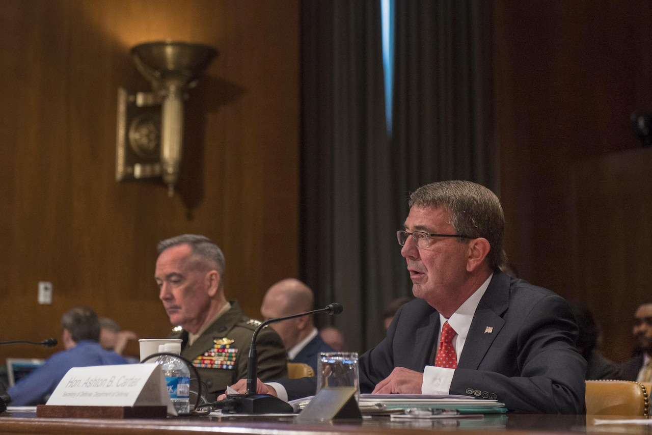 Defense Secretary Ash Carter testifies on the Defense Department's fiscal year 2017 budget request before the Senate Appropriations Committee's defense subcommittee as Marine Corps Gen. Joe Dunford, chairman of the Joint Chiefs of Staff, listens in Washington, D.C., April 27, 2016. DoD photo by Air Force Senior Master Sgt. Adrian Cadiz