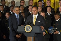 Ken Niumatalolo, the head coach of the U.S. Naval Academy football team, speaks during a Commander in Chief's Trophy award ceremony at the White House in Washington, D.C., April 27, 2016. DoD photo by EJ Hersom