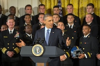 President Barack Obama delivers remarks during a Commander in Chief's Trophy award ceremony at the White House in Washington, D.C., April 27, 2016. Obama presented the trophy to the U.S. Naval Academy football team during the ceremony. DoD photo by EJ Hersom