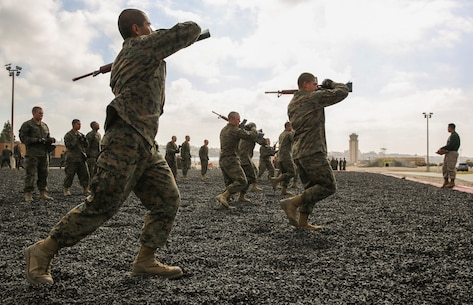 Recruits of Charlie Company, 1st Recruit Training Battalion, conduct smashes during a Marine Corps Martial Arts Program Test at Marine Corps Recruit Depot San Diego, April 27. If a recruit received more than five deficiency marks during the test, for either conducting the wrong technique or executing it incorrectly, he failed the test. Annually, more than 17,000 males recruited from the Western Recruiting Region are trained at MCRD San Diego. Charlie Company is scheduled to graduate May 20.