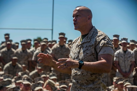 U.S. Marine Corps Maj. Gen. Richard L. Simcock, Commanding General 3D Marine Division, talks to Marines from 1st Battalion, 1st Marine Regiment about Marine Rotational Force Darwin (MRF-D) on Robertson Barracks, Darwin, Australia on April 24, 2016. MRF-D is a six-month deployment of Marines into Darwin, Australia, where they will conduct exercises and train with the Australian Defence Forces, strengthening the U.S.-Australia alliance. (U. S. Marine Corps Photo by MCIPAC Combat Camera Lance Cpl. Osvaldo L. Ortega III/Released)