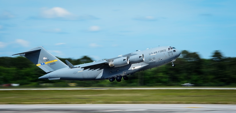 A Joint Base Charleston C-17 Globemaster III takes off April 25, 2016, on JB Charleston – Air Base, S.C. The 437th Airlift Wing flew into Manta, Ecuador, in support of earthquake relief operations. Aboard the aircraft were Army personnel from the Contingency Response Group as well as equipment including a mobile control tower and a five-passenger vehicle. The 437th AW provides global reach airlift capability at anytime and anywhere in the world. Whenever natural disasters occur, the 437th AW can provide humanitarian aid in a moment's notice. (U.S. Air Force photo/Senior Airman Clayton Cupit)
