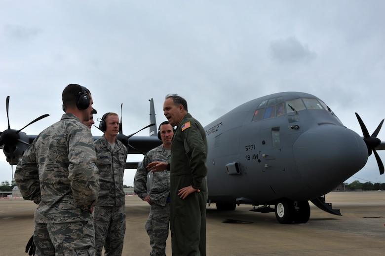 U.S. Air Force Maj. Gen. Jerry Martinez, Air Mobility Command Director of Operations, discuss the importance on leadership in a deployed location with the 621st Contingency Response Support Squadron commander and his staff, April 18, 2016, at Fort Polk, La., during Green Flag 16-06.  The Royal Australian Air Force, Royal New Zealand Air Force and U.S. Air Force train during Green Flag Little Rock to ensure all aircrew can effectively communicate. (U.S. Air Force photo by Staff Sgt. Jeremy McGuffin)
