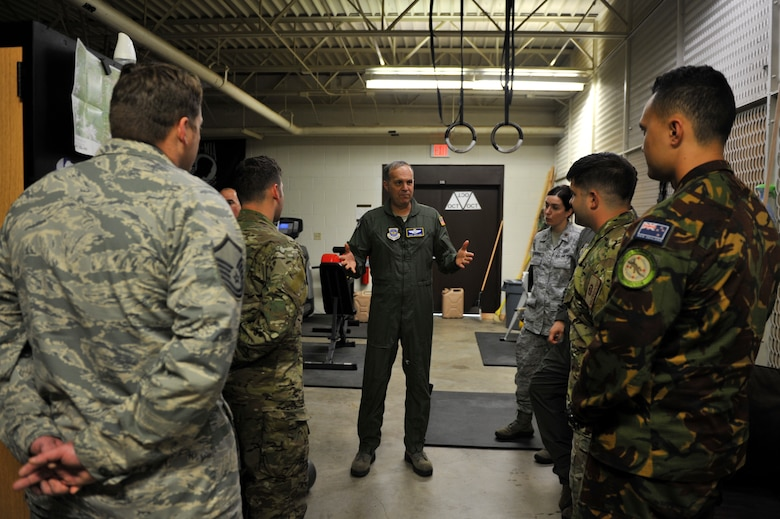 U.S. Air Force Maj. Gen. Jerry Martinez, Air Mobility Command Director of Operations, meets with SERE specialist from Little Rock Air Force Base, Ark. and New Zealand, April 18, 2016, at Fort Polk, La., during Green Flag 16-06.  The Royal Australian Air Force, Royal New Zealand Air Force and U.S. Air Force train during Green Flag Little Rock to ensure all aircrew can effectively communicate. (U.S. Air Force photo by Staff Sgt. Jeremy McGuffin)
