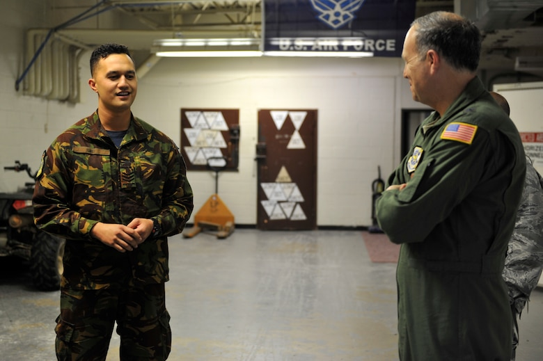U.S. Air Force Maj. Gen. Jerry Martinez, Air Mobility Command Director of Operations, meets with Royal New Zealand Air Force SERE instructor Sgt. Ryan Turei, April 18, 2016, at Fort Polk, La., during Green Flag 16-06.  Turei worked with Little Rock AFB SERE specialist throughout the week sharing best practices from both countries.  The Royal Australian Air Force, Royal New Zealand Air Force and U.S. Air Force train during Green Flag Little Rock to ensure all aircrew can effectively communicate. (U.S. Air Force photo by Staff Sgt. Jeremy McGuffin)