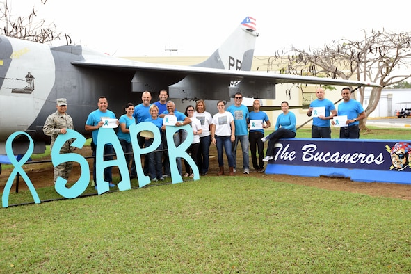 U.S. Air Force airmen of the Puerto Rico Air National Guard show their support to the 2016 Sexual Assault Awareness and Prevention Month Denim Day Observance held at the 156th Airlift Wing, Muñiz Air National Guard Base, Carolina, Puerto Rico, April 27. The Denim Day is a Department of Defense SAAPM supported campaign to raise awareness against sexual assault and rape based on a 1998 Italian Supreme Court rape case that was overturned due to the victim's use of tight denim jeans. (U.S. Air National Guard photo by 1st Lt. Claudia Villasenor)