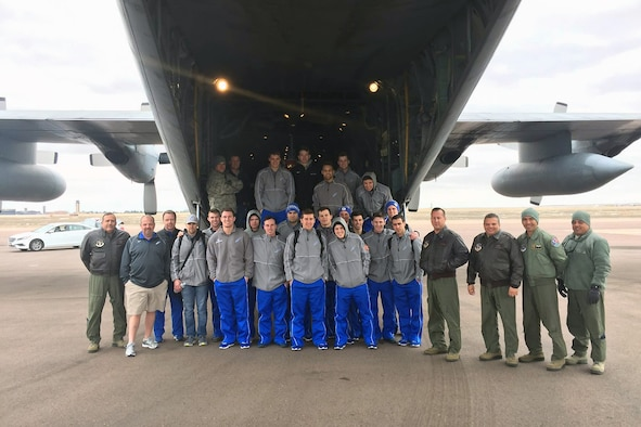 U.S. airmen of the 156th Operations Group, Puerto Rico Air National Guard, provide airlift transport on a WC-130 Hercules aircraft to the U.S. Air Force Academy ice hockey team from Rochester, N.Y. to Colorado Springs, Colo., Mar 19. The 156th Airlift Wing deployed one of its WC-130 Hercules aircraft March 18 from Muñiz Air National Guard Base, Carolina, Puerto Rico to Rochester, N.Y. in support of the Air National Guard weekend dedicated airlift mission. (U.S. Air National Guard photo by Maj. Luis Martinez)