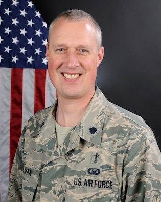 U.S. Air Force portrait of Lt. Col. Brian Bohlman, a chaplain assigned to the 169th Fighter Wing, April 27, 2016. (U.S. Air National Guard photo by Airman 1st Class Megan Floyd)