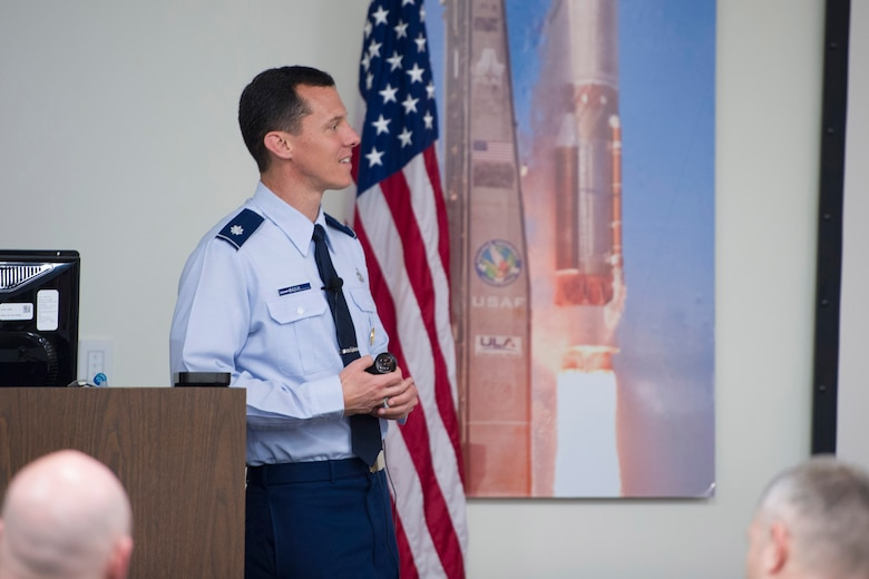 Lt. Col. Kevin Basik, PhD, the U.S. Air Force representative to the office of the Senior Advisor to the Secretary of Defense for Military Professionalism, spoke to the 45th Space Wing about Professionalism, Enhancing Human Capital April 26, 2016 at the Patrick Air Force Base Professional Development Center, Fla. The course provided an initiative in-depth discussion at the deliberate path for the development and determination of future leaders. (U.S. Air Force photos/Matthew Jurgens) (Released)