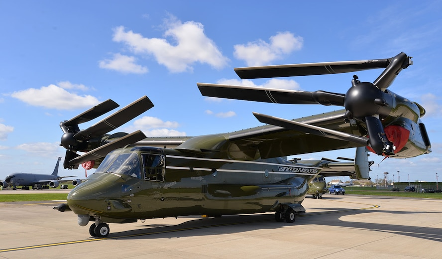 A U.S. Marine Corps MV-22 Osprey sits on the flightline April 19, 2016, on RAF Mildenhall, England. The multi-mission, tilt-rotor military aircraft, based out of Quantico, Va., were at RAF Mildenhall in support of the President's visit to the United Kingdom for bilateral meetings and to the Hannover Messe being held in Germany. U.S. European Command and US Air Forces in Europe-Air Forces Africa were working with other government agencies in the U.K. and Germany to provide assistance as requested, to ensure a successful visit. (U.S. Air Force photo by Karen Abeyasekere/Released)