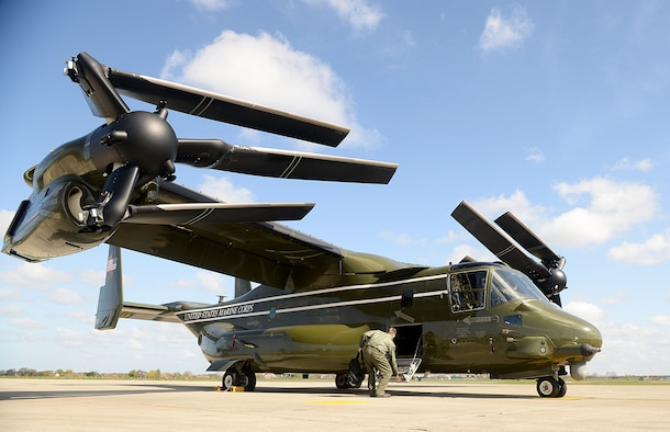 A U.S. Marine Corps MV-22 Osprey from Quantico, Va., sits on the flightline April 19, 2016, on RAF Mildenhall, England. The aircraft was here in support of the President's visit to the United Kingdom and Germany. U.S. European Command and U.S. Air Forces in Europe-Air Forces Africa were working with other government agencies and authorities in the U.K. and Germany to provide assistance as requested to ensure a successful visit. (U.S. Air Force photo by Airman 1st Class Tenley Long/Released)