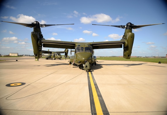 U.S. Marine Corps Staff Sgt. Patrick Riley and Cpl. Jonathan Renshaw, MV-22 Osprey crew chiefs, conduct pre-flight inspections to ensure the aircraft are flight ready April 19, 2016, on RAF Mildenhall, England. The aircraft were on the flightline in support of the President's visit to the United Kingdom and Germany where he held bilateral meetings and participated in the Hannover Messe. U.S. European Command and U.S. Air Forces in Europe-Air Forces Africa were working with other government agencies and authorities in the U.K. and Germany to provide assistance as requested to ensure a successful visit. (U.S. Air Force photo by Airman 1st Class Tenley Long/Released)