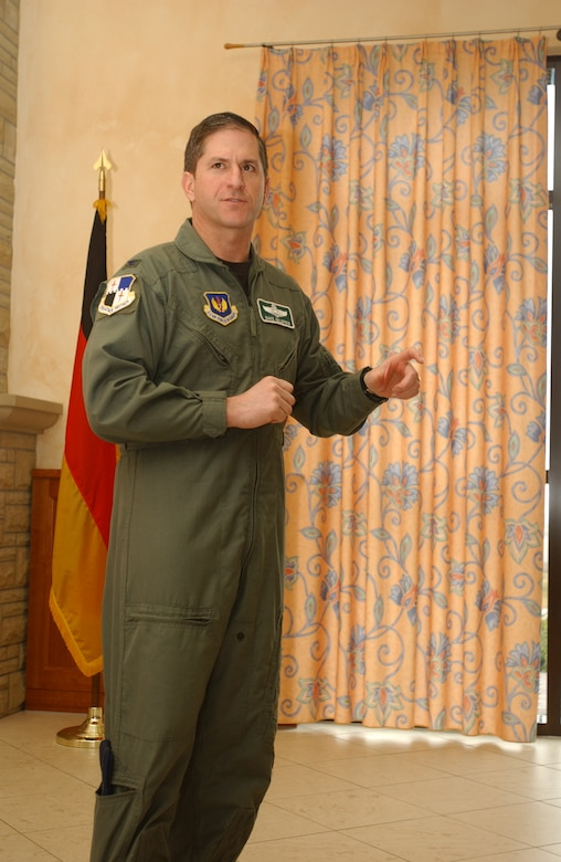 Col. David Goldfein, 52nd Fighter Wing commander, speaks in this March 7, 2006, photo on Spangdahlem Air Base, Germany.  Defense Secretary Ash Carter announced April 26, 2016, that the president has nominated Air Force Vice Chief of Staff Gen. David L. Goldfein to be the 21st chief of staff of the Air Force, succeeding Gen. Mark A. Welsh III, who has served in the position since 2012. (U.S. Air Force photo)