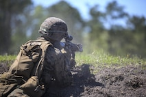 Pfc. Adam J. Wiscombe, a rifleman with Kilo Company, 3rd Battalion, 8th Marine Regiment, engages targets down range during a fire team attack exercise as part of the battalion field exercise at Camp Lejeune, N.C., April 26, 2016. The FEX, now in its final week of operations, previously tested Marines on basic infantry fundamentals such as patrolling and land navigation. (U.S. Marine Corps photo by Cpl. Paul S. Martinez/Released)