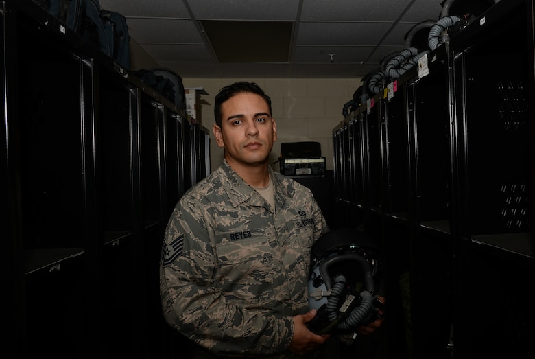 Tech. Sgt. Luis Reyes, 36th Operations Support Squadron aircrew flight equipment craftsman, was selected March 2016 to commission through the Senior Leader Enlisted Commissioning Program – Active Duty Scholarship. Through the program, Reyes plans to complete his bachelor's degree and commission in the Air Force through Officer Training School. (U.S. Air Force photo by Airman 1st Class Jacob Skovo)