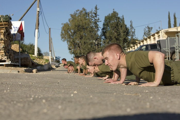 U.S. Marines with Black Sea Rotational Force preform push-ups together after completing a unit run during Exercise Juniper Cobra in Israel, Feb. 13, 2016. JC is a combined Israeli-U.S. exercise designed to improve interoperability between the two countries' armed forces.