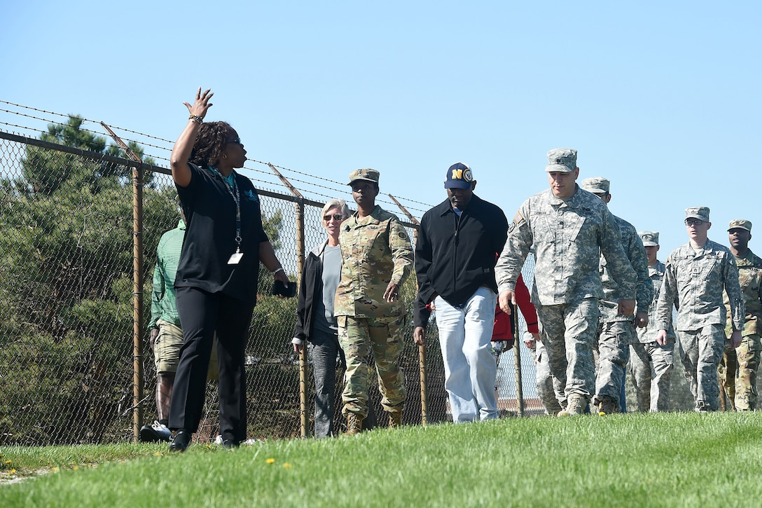 Deborah Plowden, Sexual Assault Response Coordinator, 85th Support Command, asks questions about Sexual Assault Awareness Prevention during an installation-walk, April 22, 2016. The walk, conducted at the Paul G. Schulstad Army Reserve Center, was an interactive event with participants from the 85th Support Command and the Defense Contract Management Agency-Chicago. The 85th Support Command's Sexual Harassment/Assault Response and Prevention team planned various training events, throughout the month, to help spread awareness in what one can do to prevent, respond to and reduce sexual assault within the ranks. April is the U.S. Army's Sexual Assault Awareness Month. (U.S. Army photo by Mr. Anthony L. Taylor/Released)