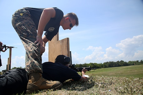 Kartik Varma, an educator from Vanderbilt High School, fires down range at the firing range aboard Marine Corps Recruit Depot Parris Island, S.C., April 27, 2016. The teachers, coaches, and principals of Recruiting Stations Baton Rouge and Nashville participate in a three-day workshop designed to inform educators about military service and life in the Marine Corps. (Official Marine Corps photo Cpl. John-Paul Imbody)