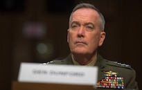 Marine Corps Gen. Joe Dunford, chairman of the Joint Chiefs of Staff, testifies on counter-Islamic State of Iraq and the Levant operations and Middle East strategy before the Senate Armed Services Committee in Washington, D.C., April 28, 2016. DoD photo by Navy Petty Officer 2nd Class Dominique A. Pineiro