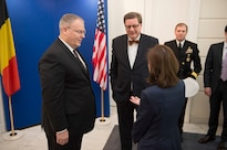 Deputy Defense Secretary Bob Work arrives at the Belgian Ministry of Defense in Brussels, April 28, 2016. DoD photo by Navy Petty Officer 1st Class Tim D. Godbee