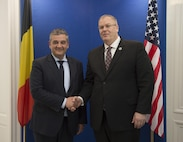 Deputy Defense Secretary Bob Work stands for a photo with Belgian Defense Minister Steven Vandeput in Brussels, April 28, 2016. DoD photo by Navy Petty Officer 1st Class Tim D. Godbee