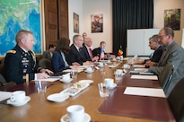 Deputy Defense Secretary Bob Work attends a bilateral meeting with Belgian Defense Minister Steven Vandeput in Brussels, April 28, 2016. DoD photo by Navy Petty Officer 1st Class Tim D. Godbee