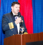 Lt. Gen. Pierre St. Amand, deputy commander for North American Aerospace Defense Command (NORAD), speaks during the Canadian Mess Dinner April 15 at the American Lake Conference Center at Joint Base Lewis-McChord.  St. Amand upheld the brief speech tradition of the mess but did take the time to touch on the long history of the RCAF and he praised the long standing close relationship the U.S. and Canadian military have shared, specifically in NORAD and at the Western Air Defense Sector.