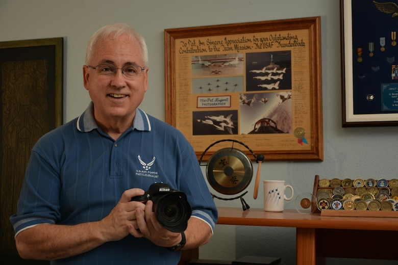"Senior Master Sergeant (Ret.) Pat Nugent joined the Air Force wanting to become a jet engine mechanic, but he quickly found out that Air Force needs come first and he was sent to school to become a parachute rigger.  With a passion for photography, Nugent was able to cross-train to a new career field, enjoying assignments in Nebraska and Colorado before getting assigned to the Air Force's ""Thunderbirds.""  That assignment led to a competitive selection as a photojournalist and resulted in advanced training at Syracuse University.  While stationed in Germany, Nugent covered the Rhein-Main Air Base bombing and the return of hostages Father Martin Jenco and David Jacobson, as well as those kidnapped from the Italian cruise ship ""Achille Lauro.""  Nugent also covered Operations DESERT SHIELD, DESERT STORM, PROVIDE HOPE and the Panama invasion.  He supervised the ""Prototype"" Electronic Imaging Center during the early and groundbreaking days that introduced digital photography to the Department of Defense.  Nugent retired in 1992 after 23 years of service and continues to participate in military photography workshops and the Military Photographer of the Year program"