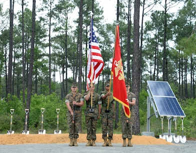 Marine Corps Logistics Base Albany's Color Guard presents the colors during a ground breaking ceremony for a large-scale solar facility held aboard the installation, April 28.