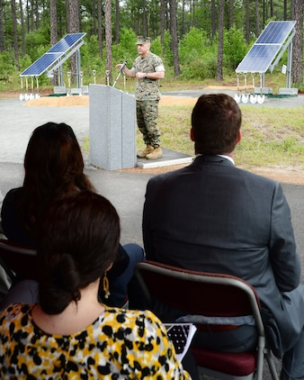 Lt. Gen. Michael G. Dana, deputy commandant of the Marine Corps, Installations and Logistics, Headquarters Marine Corps, explains how making efficient use of energy resources is critical to the Marine Corps' mission readiness at the solar facility ground breaking ceremony held aboard the installation, April 28.