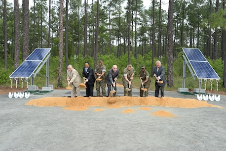 Officials with the Department of the Navy, Marine Corps Logistics Base Albany and Georgia Power, a subsidiary of Southern Company located in Atlanta, Georgia, broke ground on a large-scale solar facility during a ceremony held aboard the installation, April 28.