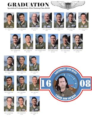 Specialize Undergraduate Pilot Training Class 16-08 is set to graduate. (U.S. Air Force graphic by Airman 1st Class Brandon May)