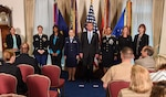 Defense Secretary Ash Carter poses with the sexual assault response coordinators of the year during a ceremony at the Pentagon today. The recipients are, from left, Army Master Sgt. Melinda Heikkinen, Coast Guard civilian Simone Hall, Air Force Capt. Elizabeth Belleau, Army Sgt. 1st Class Raquel Mendoza, Marine Corps civilian Jacqueline Maxwell, and Navy civilian Deborah Drucker. DoD photo by Army Sgt. 1st Class Clydell Kinchen
