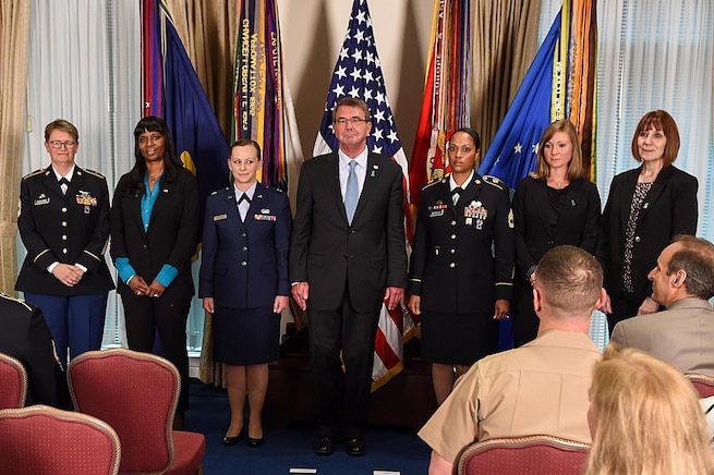 Defense Secretary Ash Carter hosts a ceremony honoring the 2016 Exceptional Sexual Assault Response Coordinators Award recipients at the Pentagon, April 28, 2016. DoD photo by Army Sgt. 1st Class Clydell Kinchen