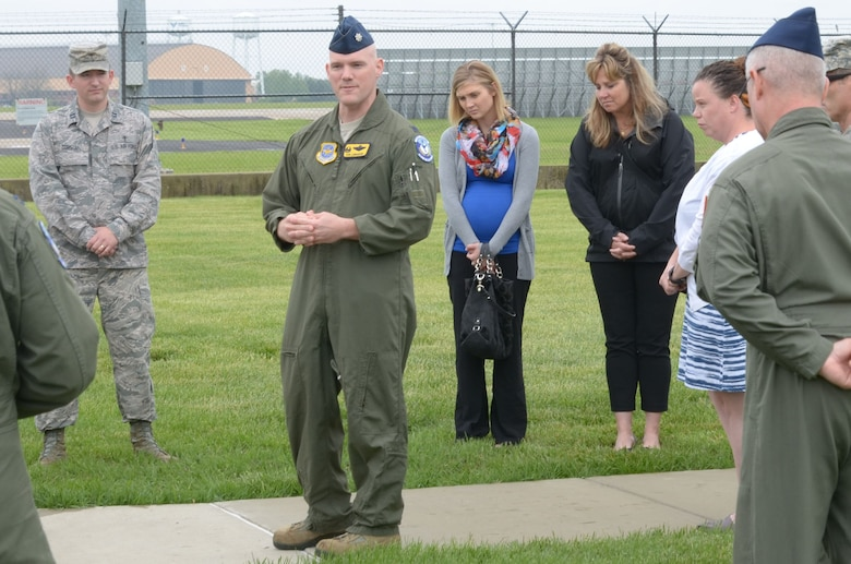 Air Force Lt. Col. Donald Landgrebe, commander of the 906th Air Refueling Squadron, hosts a memorial ceremony for Capt. Brandon Cyr April 27, 2016, at the 126th Air Refueling Wing, Scott AFB, Ill.  Cyr was a member of the 906 ARS when he was killed in a plane crash in Kandahar, Afghanistan, April 27, 2013. (National Guard photo by Staff Sgt. Andrew Kleiser)