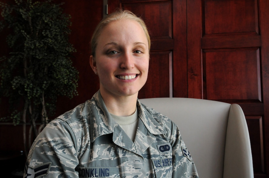 Airman 1st Class Krystal Conkling, 50th Space Wing, is a Green Dot implementer and advocate for positive culture change in in the military. Green Dot's prevention posture has encouraged her to share her story with others. Conkling aims to give hope and courage to others to proactively take a stance to prevent cases of power-based personal violence. (U.S. Air Force photo/2nd Lt. Darren Domingo)