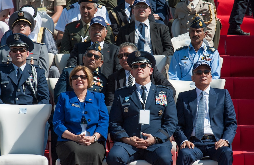 Mrs. Heidi Grant (center left), the Deputy Under Secretary of the Air Force of International Affairs, and U.S. Air Force General Frank Gorenc (center right), Commander of U.S. Air Forces in Europe – Air Forces Africa, watch an aircraft fly over during the opening day ceremony of the International Marrakech Airshow in Morocco on Apr. 27, 2016. Several U.S. independent and government owned aircraft were displayed at the expo in an effort to demonstrate their capabilities to a broad audience of individuals from approximately 54 other countries. (DoD News photo by TSgt Brian Kimball)