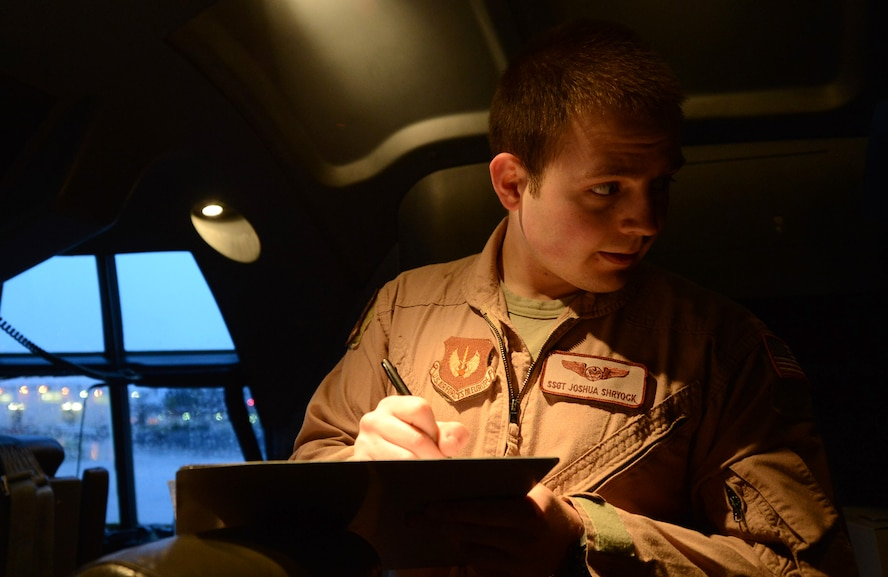 U.S. Staff Sergeant Joshua Shryock, a loadmaster with the 37th Airlift Squadron (AS), completes his pre-flight checks for a C-130J Hercules prior to take off from Ramstein Air Base, Germany on Apr. 26, 2016. SSgt Shryock is part of a six-man flight crew entrusted with transporting the aircraft to the 2016 International Marrakech Airshow in Morocco. (DoD News photo by TSgt Brian Kimball)