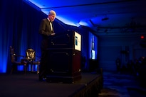Retired Air Force Gen. Norton A. Schwartz, President and Chief Executive Officer for the Business Executives for National Security, delivers remarks at the BENS Eisenhower Award dinner in Washington D.C., April 28, 2016. Defense Secretary Ash Carter was presented with the 2016 Eisenhower Award. DoD photo by Senior Master Sgt. Adrian Cadiz