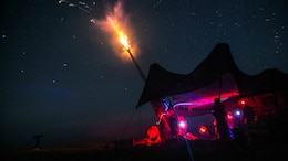 Marines fire an illumination round from an M777A2 lightweight 155 mm during live-fire artillery training Sept. 1 at the Yausubetsu Maneuver Area in Hokkaido as part of Artillery Relocation Training Program 14-2. The illumination round is able to light a 1-by-1-kilometer grid square for two minutes. The Marines are with Battery B, 1st Battalion, 12th Marine Regiment, currently assigned to 3rd Battalion, 12th Marines, 3rd Marine Division, III Marine Expeditionary Force.