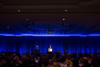 Defense Secretary Ash Carter delivers remarks at the Business Executives for National Security Eisenhower Award dinner in Washington, D.C., April 28, 2016. Carter was presented with the 2016 Eisenhower Award at the event. DoD photo by Air Force Senior Master Sgt. Adrian Cadiz