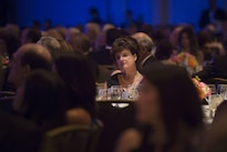 Guests listen as Defense Secretary Ash Carter delivers remarks at the Business Executives for National Security Eisenhower Award dinner in Washington D.C., April 28, 2016. Carter was presented with the 2016 Eisenhower Award at the event. DoD photo by Air Force Senior Master Sgt. Adrian Cadiz