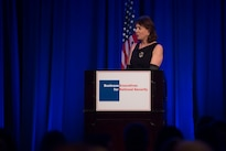 Mary Boies, Vice Chair of Business Executives for National Security, delivers remarks at the Eisenhower Award dinner in Washington D.C., April 28, 2016. Carter was presented with the 2016 Eisenhower Award at the event. DoD photo by Air Force Senior Master Sgt. Adrian Cadiz