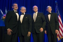 Defense Secretary Ash Carter, far left, poses for a photograph with Robert Belfer, second from left, BENS Chairman Bruce Mosler, second from right, and BENS President & CEO Retired Air Force Gen. Norton A. Schwartz, at the Business Executives for National Security Eisenhower Award dinner in Washington D.C., April 28, 2016.  Carter and Belfer were presented with the 2016 Eisenhower Award at the event. DoD photo by Air Force Senior Master Sgt. Adrian Cadiz