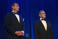 Defense Secretary Ash Carter, left, stands with Robert Belfe at the Business Executives for National Security Eisenhower Award dinner after being recognized as the 2016 Eisenhower Award recipients in Washington D.C., April 28, 2016. DoD photo by Air Force Senior Master Sgt. Adrian Cadiz