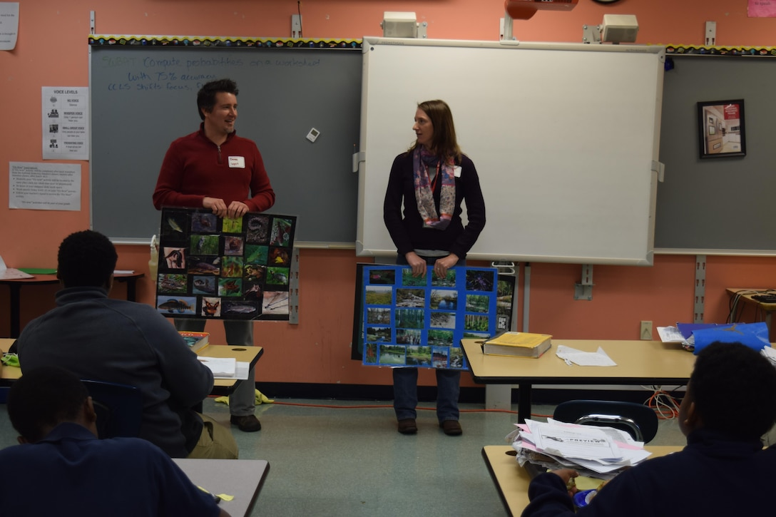 U.S Army Corps of Engineers, Buffalo District Biologists Heather Adams and Dave Leput engaged students at Buffalo's Lydia T. Wright Middle School in wetland ecology during the school's second annual Job Fair April 26.