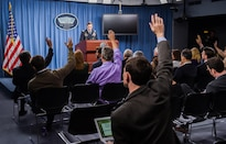 Army Gen. Joseph L. Votel, commander of U.S. Central Command, briefs the media on the investigation into an Oct. 3, 2015 airstrike in Kunduz, Afghanistan, during a news conference at the Pentagon, April 29, 2016. DoD photo by Army Sgt. First Class Clydell Kinchen