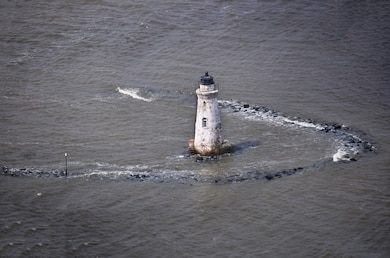 An aerial shot (merged from two photos) of the Cockspur Island Lighthouse taken March 30, 2016 at high tide.