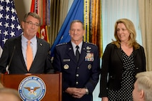 Defense Secretary Ash Carter briefs the official announcement of Air Force Vice Chief of Staff Gen. David Goldfein, who was nominated to become the 21st Air Force chief of staff, at the Pentagon in Washington D.C., April 29, 2016. Pictured with them is Air Force Secretary Deborah Lee James. (U.S. Air Force photo/Scott M. Ash)